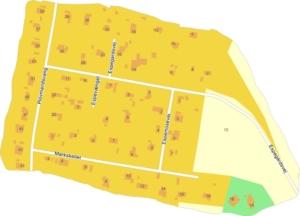 Kort over områdets huse